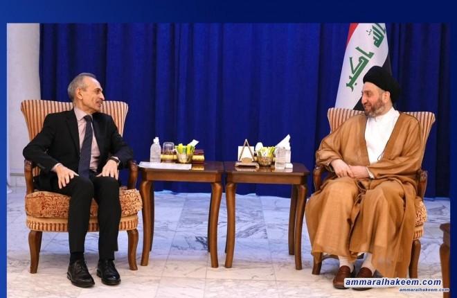 في لقائه رئيس الجبهة التركمانية .. السيد عمار الحكيم : نؤكد أهمية التوزيع العادل للثروات بين المحافظات