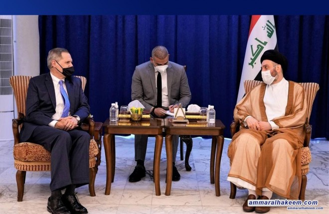 Sayyid Ammar Al-Hakeem receives US Ambassador, stresses strategic dialogue outcomes commitment