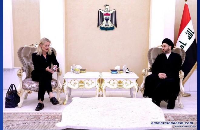 السيد عمار الحكيم يستقبل رئيسة بعثة الاتحاد الاوربي لمراقبة الانتخابات ويشدد على امن الممارسة الانتخابية بكل مراحلها