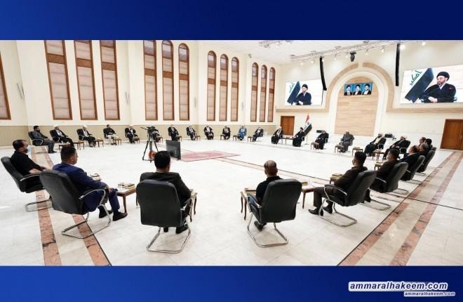 السيد عمار الحكيم يستقبل وفد علماء الدين من فلسطين ولبنان ويؤكد محورية القضية الاسلامية عند الشعوب المسلمة