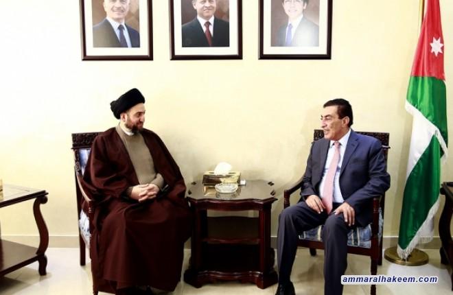 رئيس التحالف الوطني السيد عمار الحكيم يلتقي رئيس مجلس النواب الأردني عاطف الطروانة