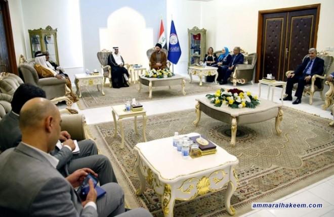 السيد عمار الحكيم يبحث مع وفد البرلمان العربي تحديات مرحلة ما بعد داعش على العراق والمنطقة