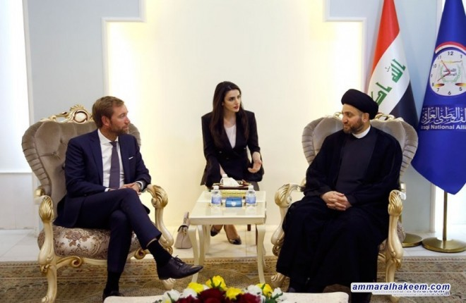 Sayyid Ammar al-Hakim with the Norwegian diplomatic delegation to discuss bilateral relations between the Iraq and Norway and victories of the Iraqis on the Daesh