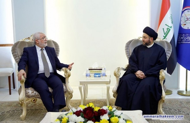 Sayyid Ammar al-Hakim with delegation of the Islamic Party headed by Ayad al-Samarra'i to discuss political developments and the post-victory phase