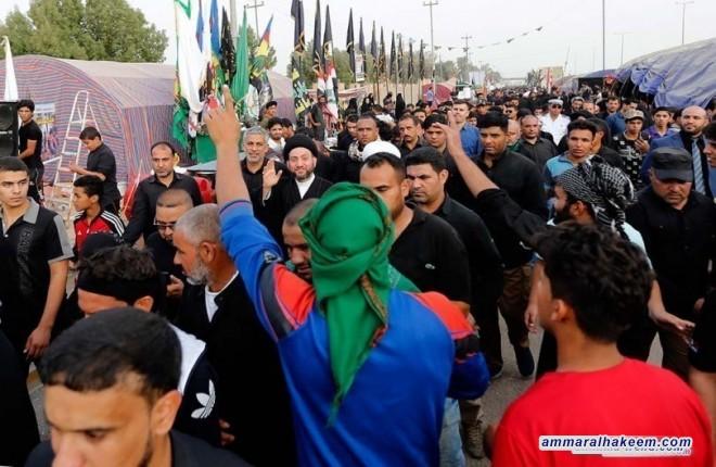 السيد عمار الحكيم يشيد بحضور الشباب في زيارة الاربعين ويدعو للتمسك بالمشروع الحسيني