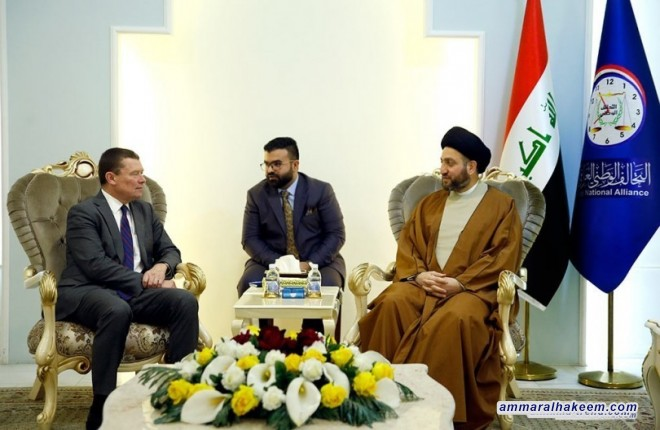 Sayyid Ammar Al-Hakim receives Ambassador of Sweden Kingdom to Baghdad to discuss developments of the confrontation with terrorism