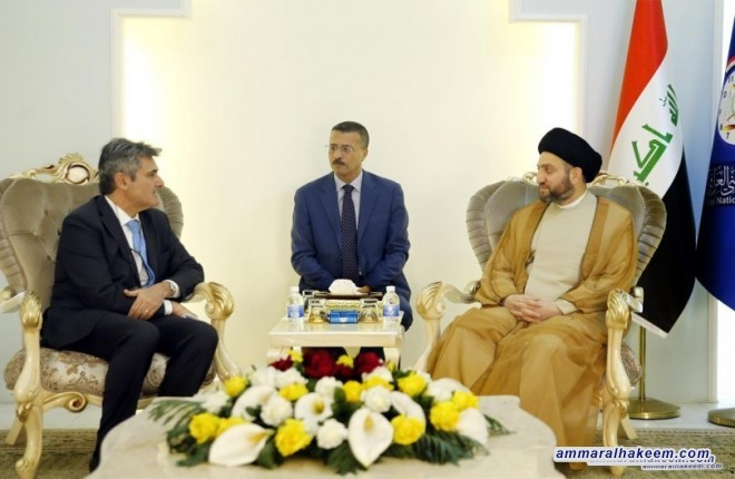 Sayyid Ammar al-Hakim receives the new Italian ambassador to Baghdad to discuss bilateral relations between Iraq and Italy