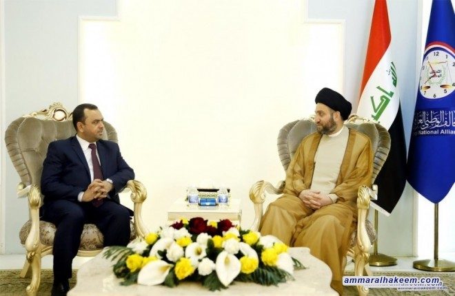 Sayyid Ammar al-Hakim with delegation of Al-Fadhelah Party chaired by Secretary-General Abdul Hussein al-Mousawi to discuss latest developments in the political and security situation in Iraq