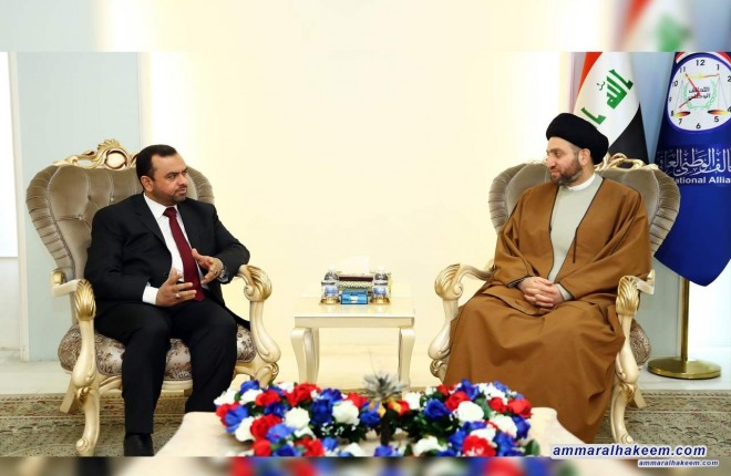 Sayyid Ammar al-Hakim with delegation of the Virtue Party to discuss developments of political scene and upcoming elections