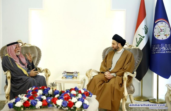Sayyid Ammar al-Hakim to Sheikh Abdul latif Al-Hemyem : We emphasize the importance of strengthening schools of moderation, and that the resettlement of displaced families a national necessity
