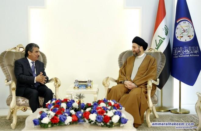 Sayyid Ammar al-Hakim receives Kuwait's Ambassador to Baghdad Mr. Salim Ghasab al-Zamanan