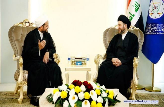 Sayyid Ammar al-Hakim with Sheikh Qais al-Khazali to discuss the referendum of Kurdistan region and the national support rejecting it