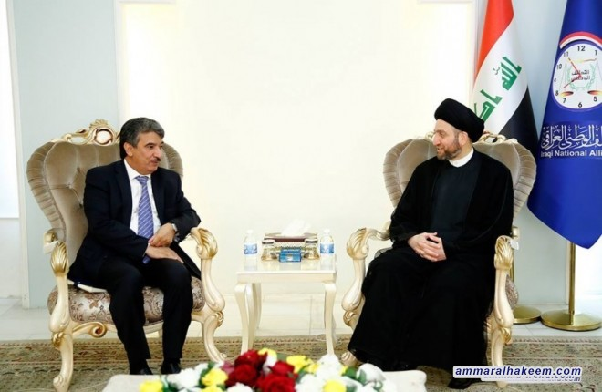 Sayyid Ammar al-Hakim receives the Ambassador of Kuwait to Iraq Salim Ghasab al-Zamanan