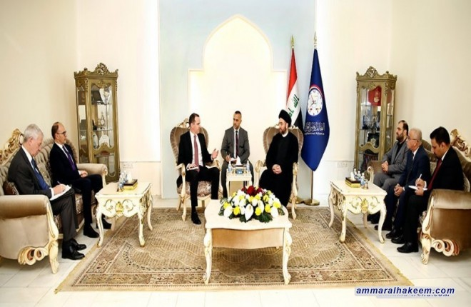 Sayyid Ammar al-Hakim with the envoy of the US President to the International Coalition against Daesh, Brett McGurk to discuss post-Daesh phase and challenges facing unity of Iraq
