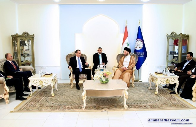 Sayyid Ammar al-Hakim receives the US envoy to the international coalition Brett McGurk to discuss the latest developments in the political situation in Iraq and the region