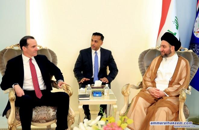 Sayyid Ammar al-Hakim receives Brett McGurk, the US president's envoy to the international coalition against terrorism
